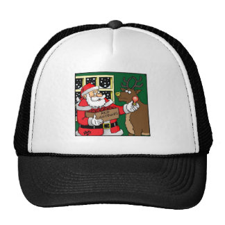 Santa, Rudolph, Light bulb. Trucker Hat