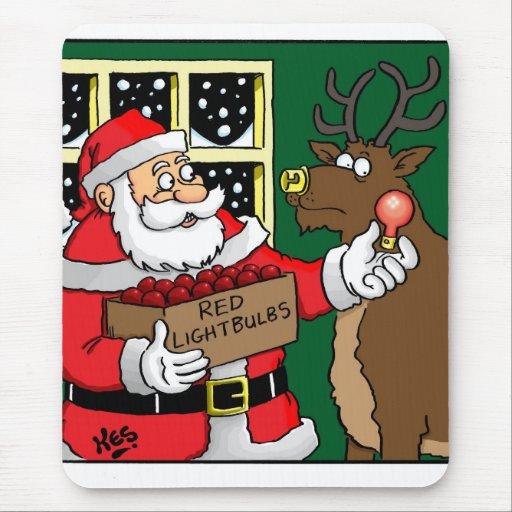 Santa, Rudolph, lightbulb. Mousemat