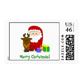 Santa & Rudolph Merry Christmas postage stamp