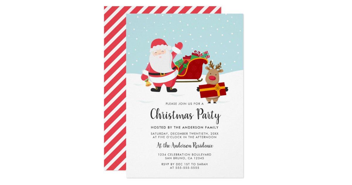Santa, Rudolph & Sled Christmas Party Invitations | Zazzle.com
