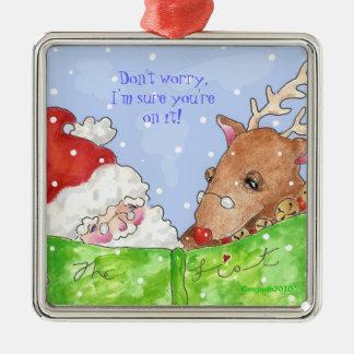 ¡santa, Rudolph y la lista! Adorno Cuadrado Plateado