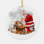 Santa ruega sobre el ornamento de Jesús del bebé Adornos De Navidad