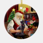 Santa - Russian Blue cat Double-Sided Ceramic Round Christmas Ornament