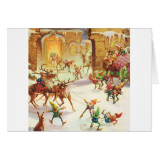 SANTA S ELVES LOAD HIS SLEIGH WITH GIFTS CARDS