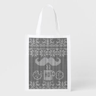 Santa s grey Stache Over Midnight Snack Reusable Grocery Bags