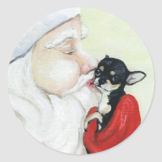 Santa s Kiss for Chihuahua Art Sticker
