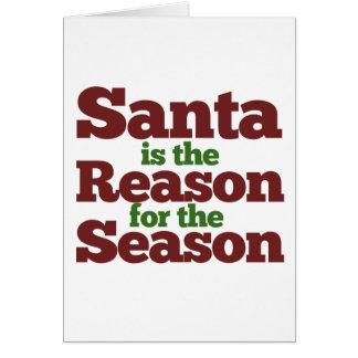 Santa s la razón de la estación tarjeta de felicitación