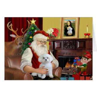 Santa s Maltese Greeting Card