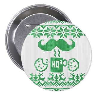 Santa s mustache Green Midnight Snack Pinback Button