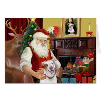Santa s Pit Bull 2 Greeting Cards