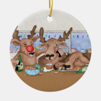 Santa's Reindeer Behaving Badly Ornament