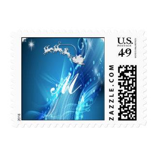 Santa s Sleigh on Blue Wave Postage Stamp
