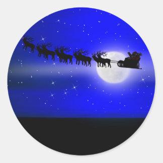 Santa s Sleigh Ride Round Stickers