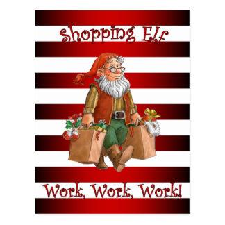 Santa's Workshop ~Christmas Shopping Elf ~Holiday~ Postcard