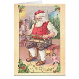 Santa s Workshop Vintage Greeting Card