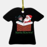 Santa sabe ornamento de navidad