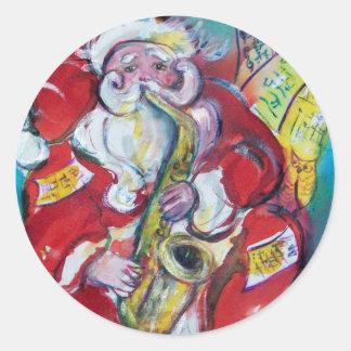 SANTA & SAX, CHRISTMAS PARTY CLASSIC ROUND STICKER