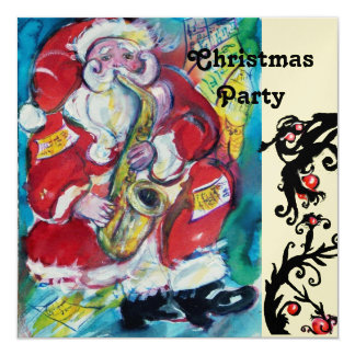 SANTA & SAX, CHRISTMAS PARTY Gold Metallic Card
