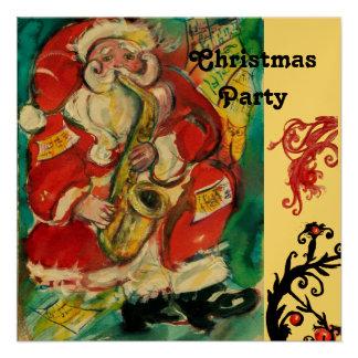 SANTA & SAX, CHRISTMAS PARTY Gold Metallic Invitations