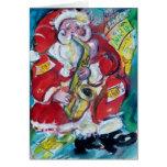 SANTA & SAX, CHRISTMAS PARTY GREETING CARD
