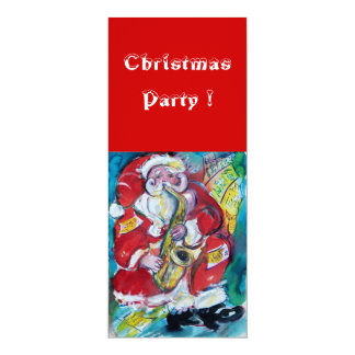 "SANTA & SAX, CHRISTMAS PARTY 4"" X 9.25"" INVITATION CARD"