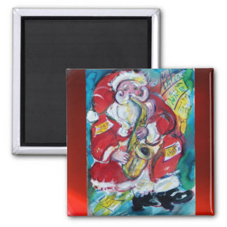 SANTA & SAX, CHRISTMAS PARTY 2 INCH SQUARE MAGNET