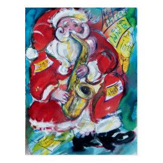 SANTA & SAX, CHRISTMAS PARTY POSTCARD