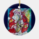 SANTA & SAX  CHRISTMAS PARTY Red Ruby Gem Ceramic Ornament