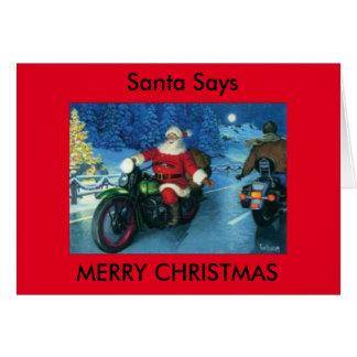 Santa says Merry Christmas motorcycle card