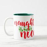 santa says naughty but nice christmas mug design