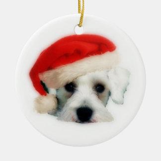 Santa Schnauzer Ornament