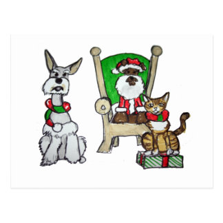 Santa Schnauzers and Elfs Postcard