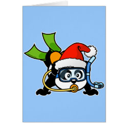 Greeting Card with Santa Claus Scuba Diving Panda design