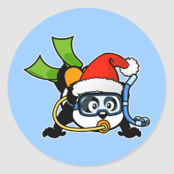 Round Sticker with Santa Claus Scuba Diving Panda design