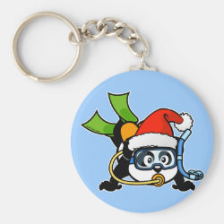 Basic Button Keychain with Santa Claus Scuba Diving Panda design
