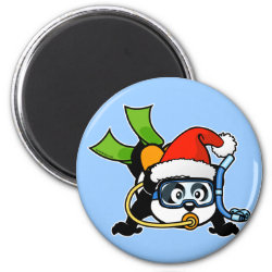 Round Magnet with Santa Claus Scuba Diving Panda design