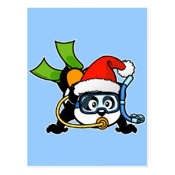 Postcard with Santa Claus Scuba Diving Panda design