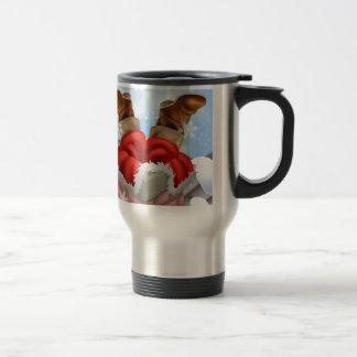 Santa se pegó en una chimenea taza de café