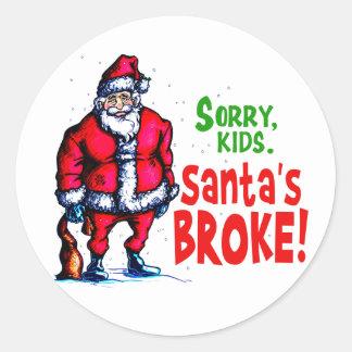 Santa se rompió etiqueta redonda