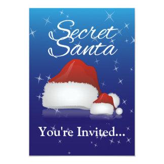 """Santa secreto, azul/gorra invitación 5"""" x 7"""""""