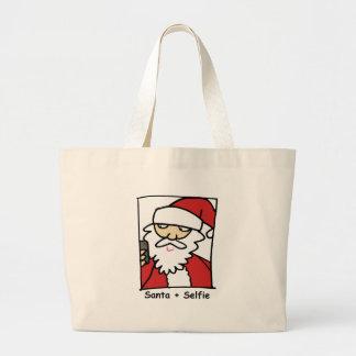 Santa Selfie Large Tote Bag