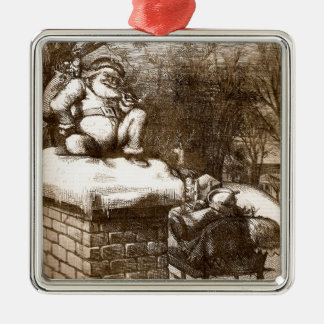 Santa semanal 1865 de Thomas Nash Harper del Adorno Navideño Cuadrado De Metal