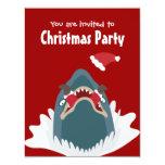 Santa & Shark Christmas Party Custom Invitation