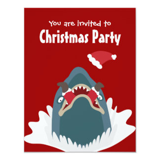 Santa & Shark Christmas Party Custom Invitation