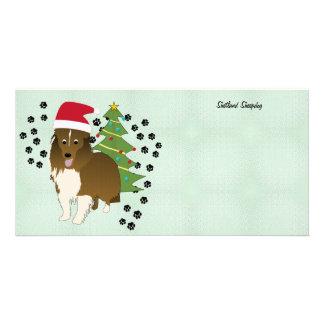Santa Shetland Sheepdog Card