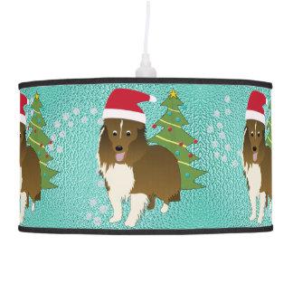 Santa Shetland Sheepdog Hanging Lamp