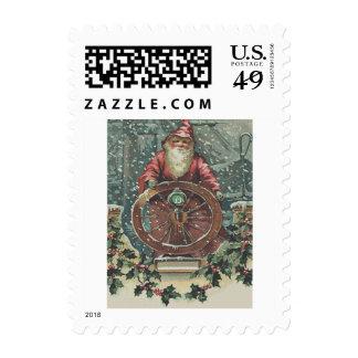 Santa Ship Boat Snow Storm Holly Nautical Postage Stamp