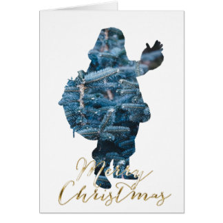 Santa Silhouette Merry Christmas Holiday Card