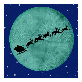 Santa Silhouette Poster