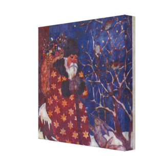 Santa Sitting On A Snowy Log Canvas Print